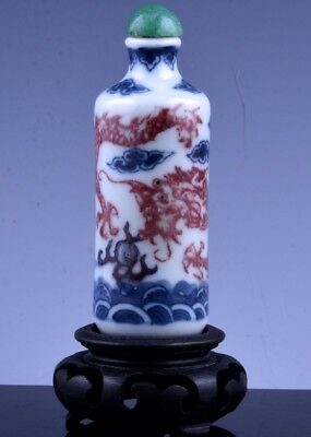 GREAT 19c CHINESE BLUE WHITE & PEACHBLOOM IMPERIAL DRAGON PORCELAIN SNUFF BOTTLE