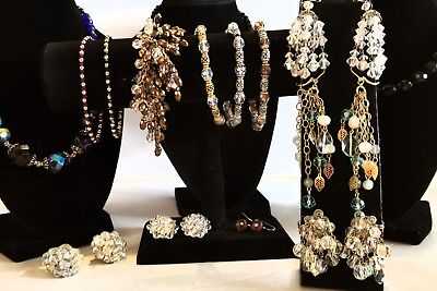 Beautiful Vintage Lot of Crystal & Glass Jewelry