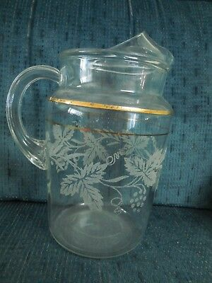 Vintage ornate clear glass pitcher with grape themed etching gold adorned 2 Q T