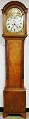 Antique C1790 English 8 Day Solid Golden Oak Stockton Grandfather Longcase Clock