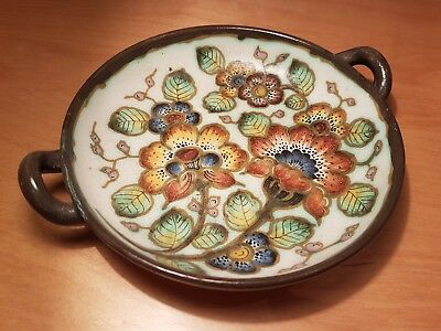 Gouda Pottery Regina 1950s bowl dish, decor Tibon, decorated with flowers, retro