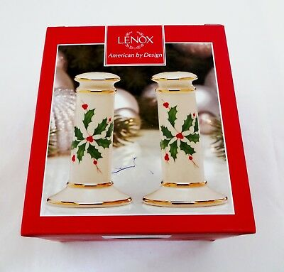 Christmas Salt And Pepper Shakers Lenox Porcelain China Holly Archive Pattern
