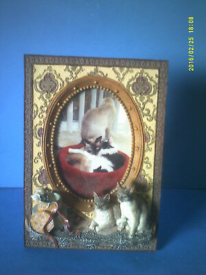 Three Dimensional Kitty Cat Free Standing Picture Photograph Frame