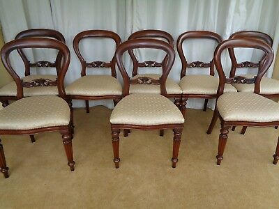 8 Victorian Style Mahogany Dining Chairs / Antique Style