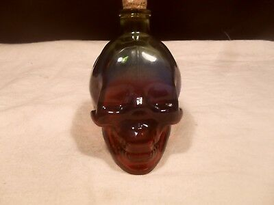 Skull Face Glass Bank ~ Pennies and Dimes ~ Green, Blue, Red Tint