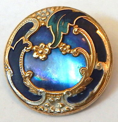 Lovely Antique French Belle Epoque Gilt Brass, Enamel & Blue Pearl Button