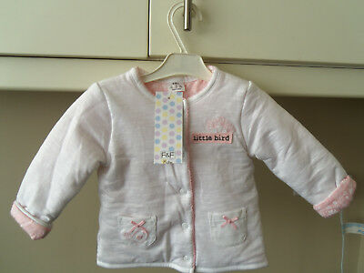 BABY GIRL'S JACKET/COAT - 3-6 mths.- WHITE/PINK - F & F - NEW WITH TAGS