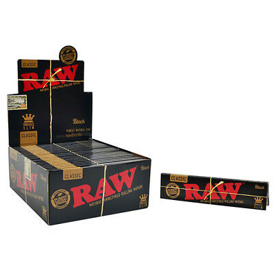 Full Box of 50 RAW Black Classic King Size Slim Rolling Papers Smoking Cigarette