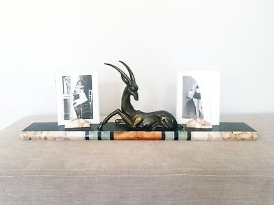 Rare French Art Deco Gazelle Double Photo Frame With Tri Coloured Marble Base