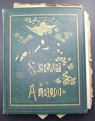 Victorian Scrap Album, Dated 1872, Many Litho Scraps, Cards, Fractional Currency