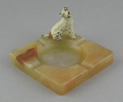 Vintage Art Deco Cold Painted Spelter Fox Terrier Dog Alabaster Ashtray 1930s