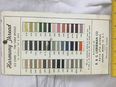 Vintage ADVERTISING Harmony Thread Color Chart LIEBERMAN CO NY  Sewing