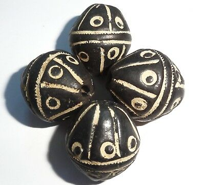 4 African spindle whorl clay trade beads ...30mm