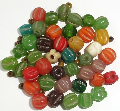 43 Assorted Colored Indonesian Melon Shaped Glass Trade Beads...Approx. 8-10mm