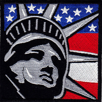 STATUE OF LIBERTY-FLAG Iron On Patch New York City Patriotic Symbol