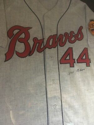 554dbed9 HANK AARON SIGNED 1957 MItchell & Ness Braves Flannel Jersey -JSA ...