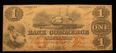 1861 Civil War Era $1 The Bank Of Commerce Georgia Obsolete Note  US Paper Money
