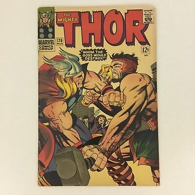 MIGHTY THOR #126 1st Issue Series Marvel Comics 1966 Hercules Kirby Lee VG/FN!!!