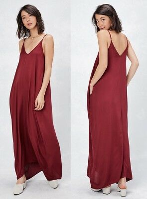 6215ba1365c LOVE STITCH Wine Bliss Mila Cocoon Maxi Dress w  Pockets Boho Slouchy S M M