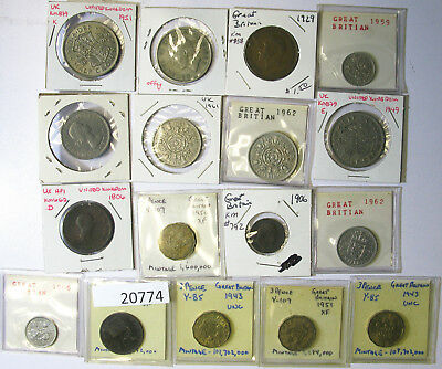 Lot of 17 Great Britain Farthing, Half Penny, Penny, 3, 6 Pence, 1, 2 Shillings,