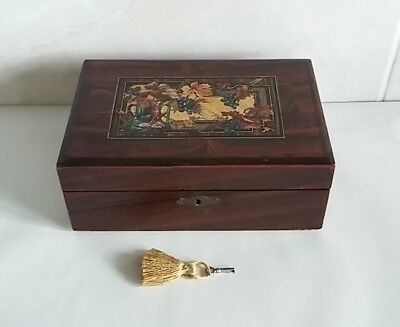 Antique small writing slope working lock & key child or big doll writing slope