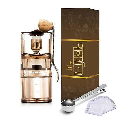 Manual Hand Coffee Grinder Mini Transparent With Adjustable Conical Ceramic B...