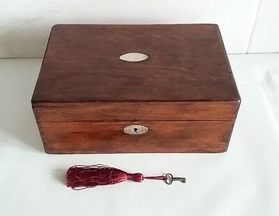 Antique wooden sewing box working lock & key mop inlay pull out tray & contents