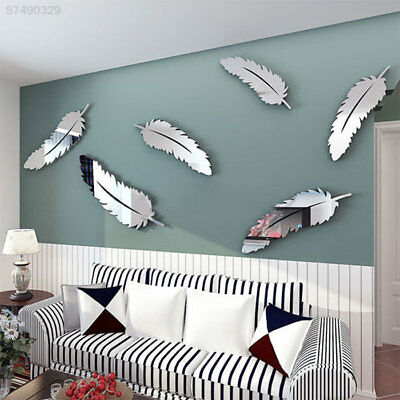 8D06 3E32 Creative 8pcs Feather Designed 3D Mirror Craft Kid Child Wall Stickers
