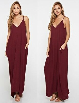 e0beeeaa5cd LOVE STITCH Merlot Gauzy Mila Cocoon Maxi Dress w  Pockets Slouchy S M M