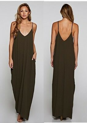 d5261551fc8 LOVE STITCH Olive Mila Cocoon Maxi Dress w  Pockets Boho Long Slouchy S M M