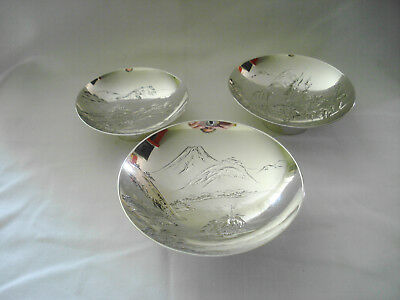 3 Vintage/Antique Japanese Sterling Pure Silver Footed Mt. Fuji Compotes Signed