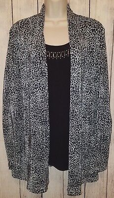 Womens Allison Daley Stretchy Black White One Piece Blouse Top Shirt