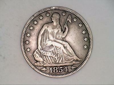 ***NICE DETAILS*** 1854 Seated Liberty Half Dollar 90% SILVER (CC3466)