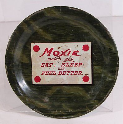 ca1910 MOXIE SODA TIN LITHOGRAPH ADVERTISING TIP TRAY WOOD GRAIN CHANGE TRAY