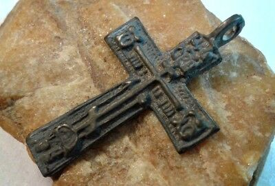 "Antique 18-19 Century Large Russian Orthodox ""old Believers"" Cross Pendant"