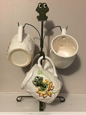 Vintage Neil the Frog Character Sears Coffee Mug Holder Tree 5 Piece Set NICE!