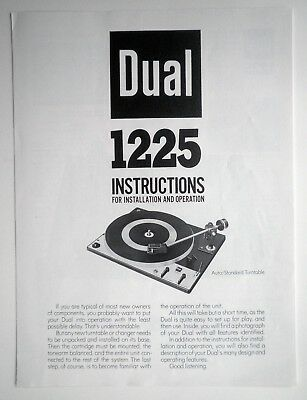 Original Dual 1225 Turntable Owners Manual & Mounting Instructions