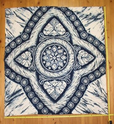 Vintage Japanese Indigo Cotton Shibori Tie Dye Fabric Tablecloth Furoshiki Mat