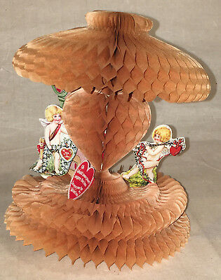 Great Vintage Valentine  Cupids with Honeycomb  c. 1930s