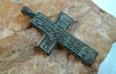 "RARE 17-18th CENT. RUSSIAN NORTH ORTHODOX ""OLD BELIEVERS"" CROSS ""JESUS PRAYER"""