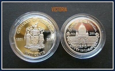"2001 Centenary of Federation ""VICTORIA"" Proof 50c+ 20c Student design"