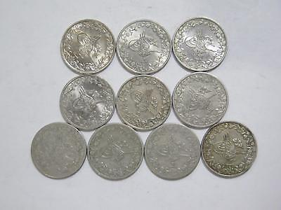 Egypt Ottoman Empire 2/10 Qirsh Mixed Date Cn Type World Coin Collection Lot #m