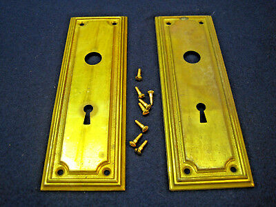 Pair Antique Brass Mortise Door Escutcheon Back Plates Architectural Salvage