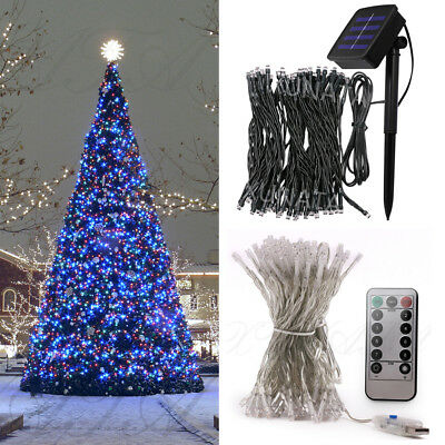 2m-50m Solar USB Christmas LED String Fairy Lights Outdoor Holiday Decorations