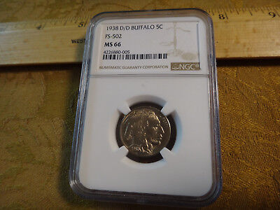 1938-D/D FS-502 US Buffalo Nickel 5c NGC Graded MS66 - Free S&H USA
