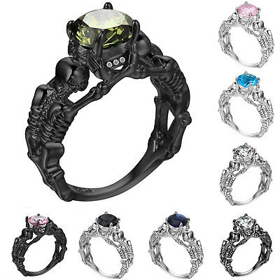 Punk Style 925 Silver Skull Skeleton CZ Crystal Statement Claw Ring Fashion