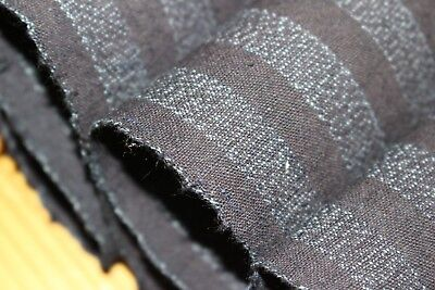 Vintage Japanese Indigo Cotton Striped Futon Noragi Folk Kimono Fabric Quilt 60""