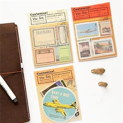Vintage Travel Stamp Paper Notebooks Decorative Sticker Diary Package D