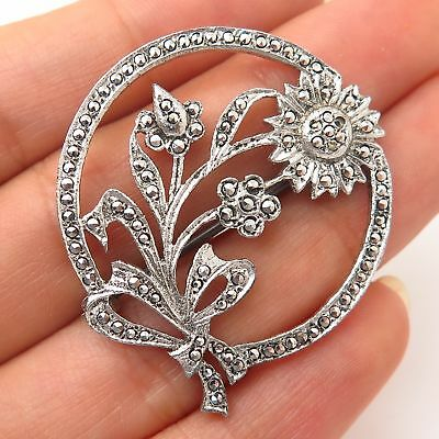 Vtg 925 Sterling Silver Real Marcasite Floral Design Pin Brooch