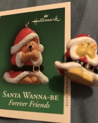 2004 Hallmark Ornament SANTA WANNA-BE Forever Friends #1 In Series Mini Bear New
